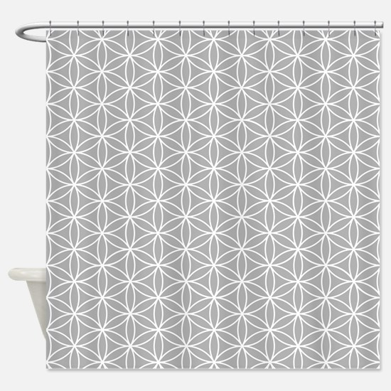 Flower of Life Ptn Wt/Grey Shower Curtain