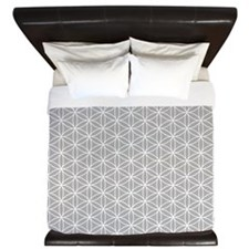 Flower of Life Ptn Wt/Grey King Duvet