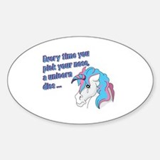 Sad Unicorn Sticker (Oval)