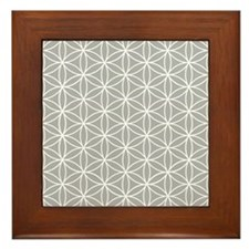 Flower Of Life Ptn Wt/grey Framed Tile