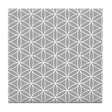 Flower Of Life Ptn Wt/grey Tile Coaster