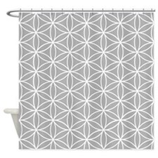Flower Of Life Big Ptn Wt/grey Shower Curtain