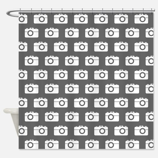 Gray and White Camera Illustration Shower Curtain