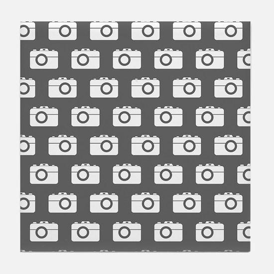 Gray and White Camera Illustration Pa Tile Coaster