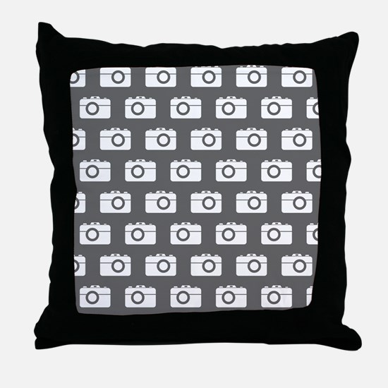 Gray and White Camera Illustration Pa Throw Pillow