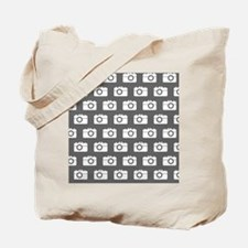 Gray and White Camera Illustration Patter Tote Bag