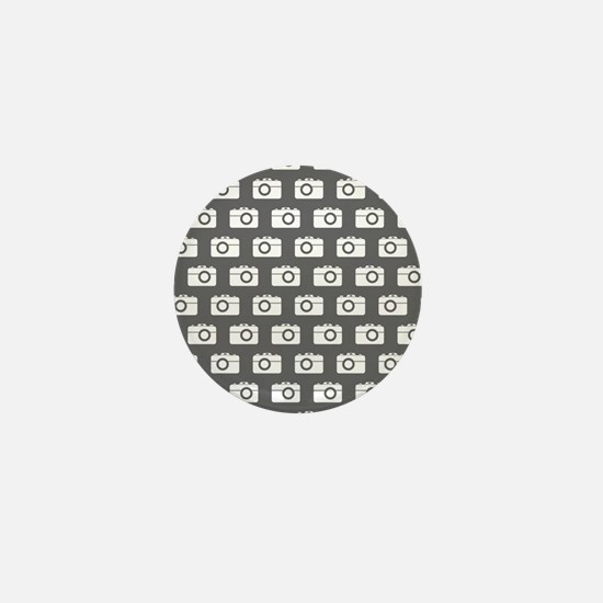 Gray and White Camera Illustration Pat Mini Button