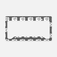 Gray and White Camera Illustr License Plate Holder