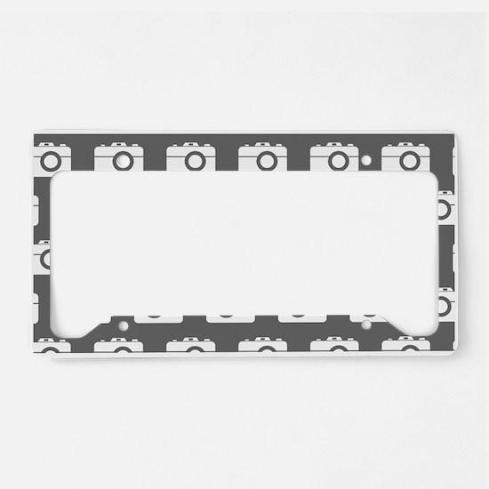 Gray and White Camera Illustr License Plate Holder