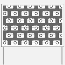 Gray and White Camera Illustration Patte Yard Sign