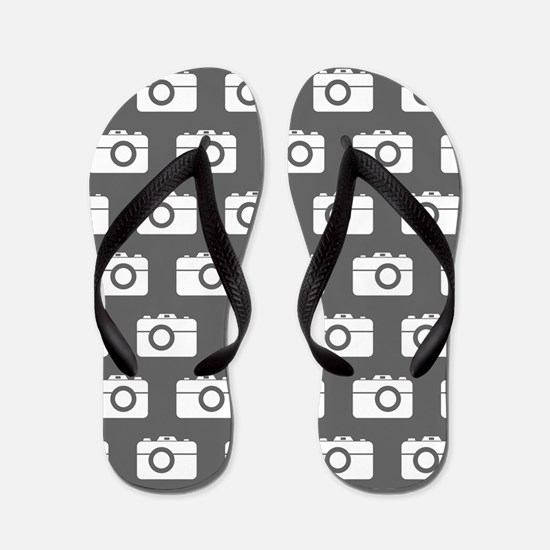 Gray and White Camera Illustration Patt Flip Flops