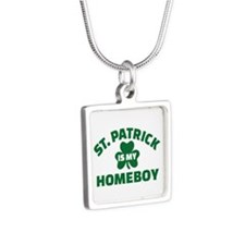 St. Patrick is my homeboy Silver Square Necklace