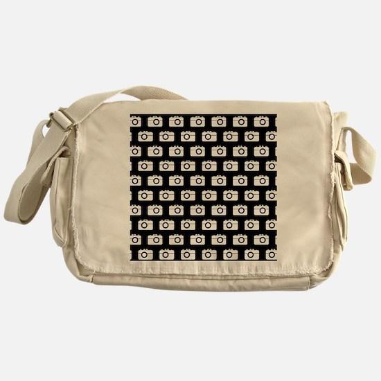 Black and White Camera Illustration Messenger Bag