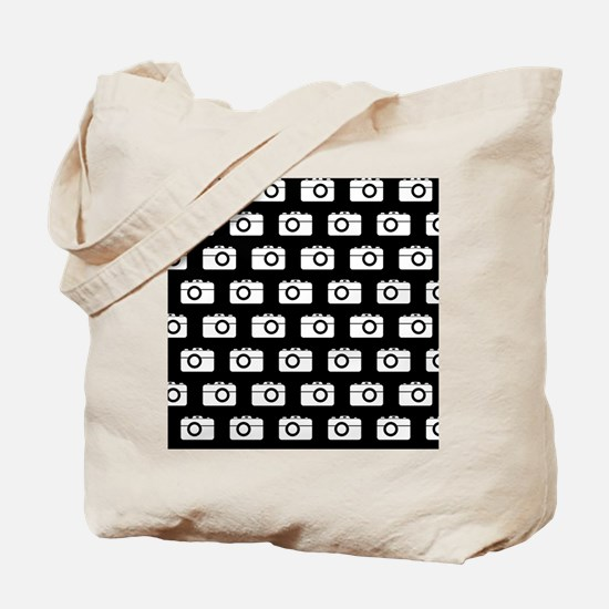 Black and White Camera Illustration Patte Tote Bag