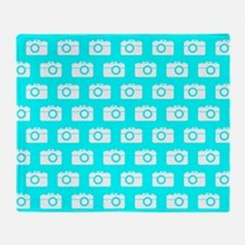 Aqua and White Camera Illustration P Throw Blanket