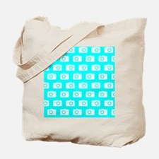 Aqua and White Camera Illustration Patter Tote Bag