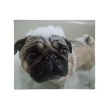 rub a dub pug in a tub Throw Blanket