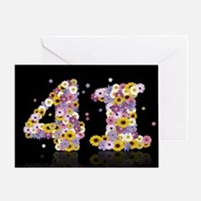 41st birthday card with flowery letters Greeting C