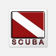 """S C U B A Dive Flag Square Sticker 3"""" x 3"""""""
