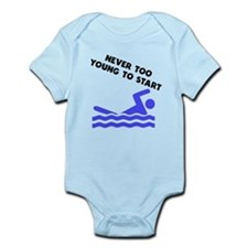 Never Too Young To Start Swimming Body Suit