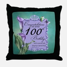 100th Birthday Purple Lily Design Throw Pillow
