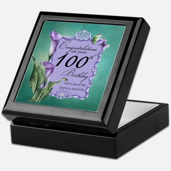 100th Birthday Purple Lily Design Keepsake Box