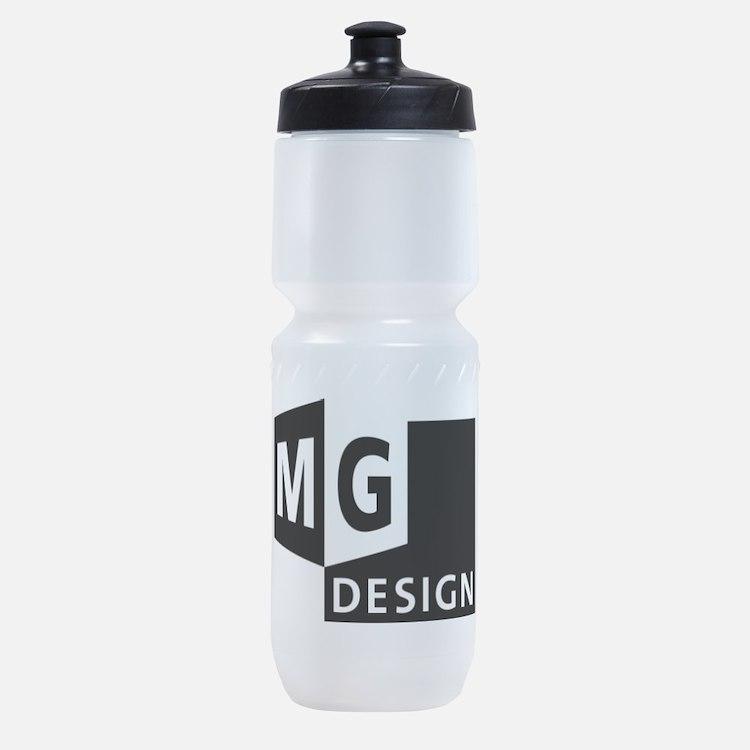 MG Design Logo in Gray Sports Bottle