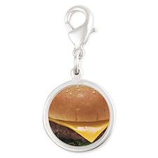 Burger Silver Round Charm