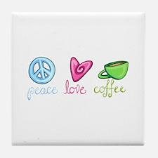 PEACE LOVE COFFEE Tile Coaster
