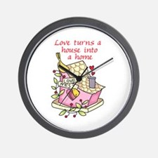 Love Turns A House Into A Home Wall Clock