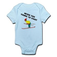Never Too Young To Start Skiing Body Suit