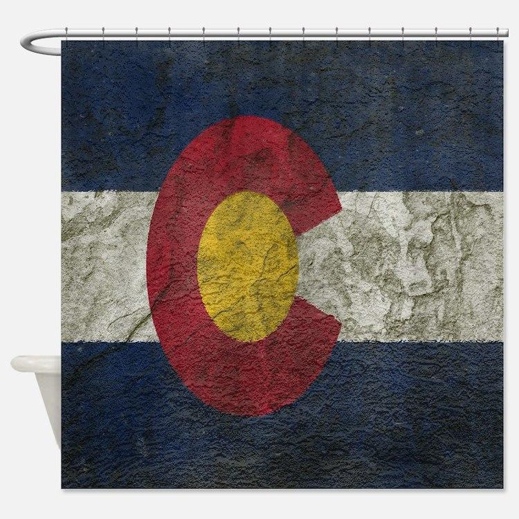 Rock Wall Colorado Flag Shower Curtain