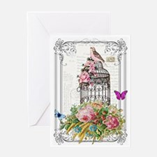 Pink bird and cage Greeting Cards