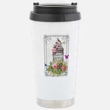 Pink bird and cage Stainless Steel Travel Mug