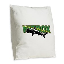 Nitrox Shark Burlap Throw Pillow