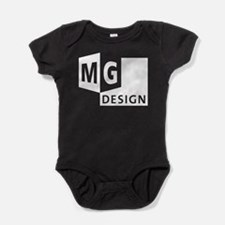 MG Design Logo in White Baby Bodysuit