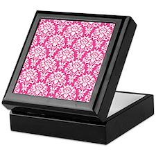 White and Pink Damask Keepsake Box