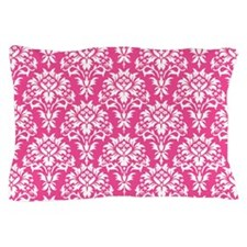 White and Pink Damask Pillow Case