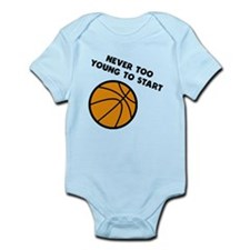 Never Too Young To Start Basketball Body Suit