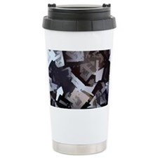 black white Travel Mug