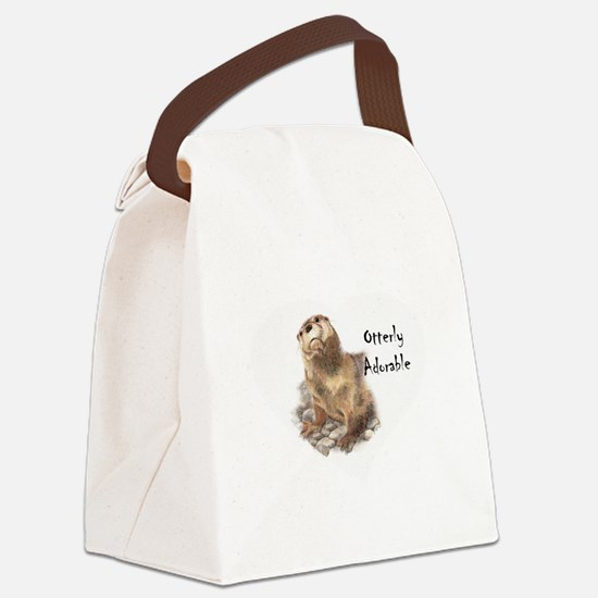"""Cute Otter """"Otterly Adorable"""" Funny Quote Canvas L"""