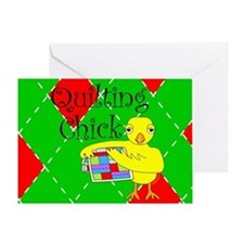 Quilting Chick Block Greeting Card