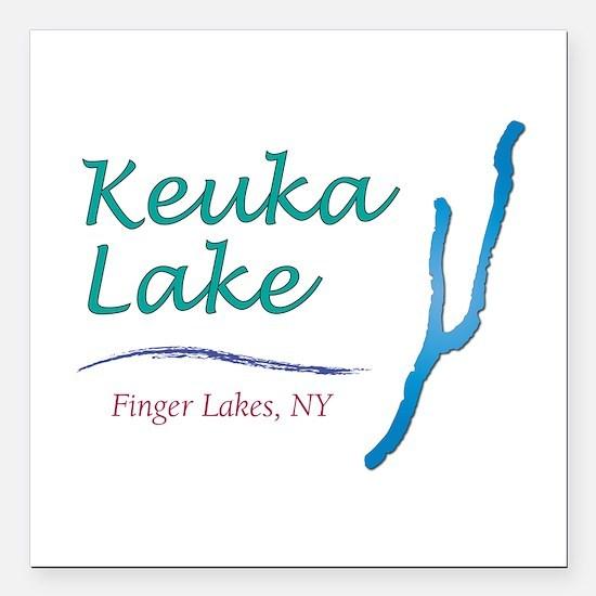 """Keuka Lake Square Car Magnet 3"""" x 3"""""""