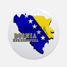 Flag Map of Bosnia Ornament (Round)