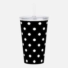 BLACK AND WHITE Polka Dots Acrylic Double-wall Tum