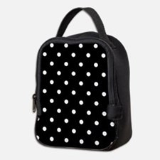 BLACK AND WHITE Polka Dots Neoprene Lunch Bag