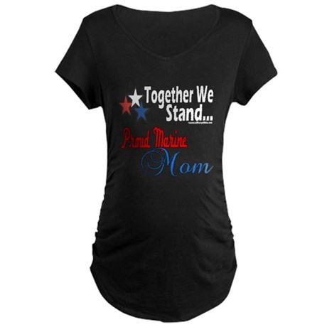 Proud Marine Mom Maternity Dark T-Shirt