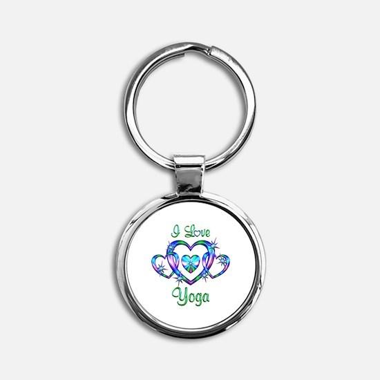 I Love Yoga Round Keychain