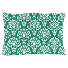 Jade and White Damask Pillow Case