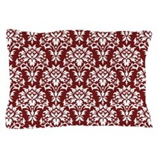 Red and White Damask Pillow Case